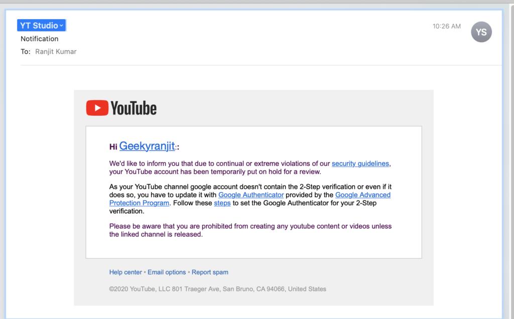 Youtube Scam 1