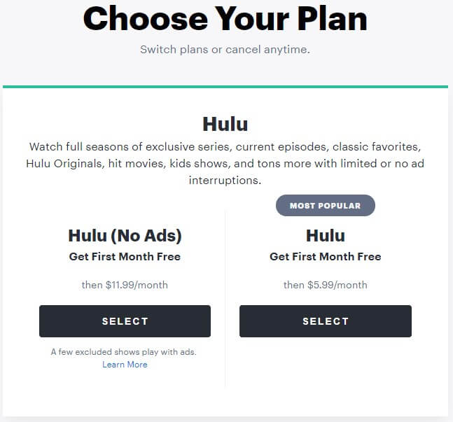 choose hulu plan