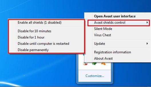 Avast Shields Control